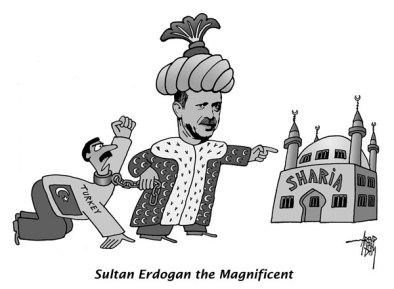 Caricature de Recep Erdogan