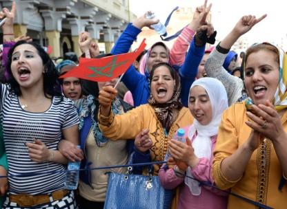 Femme manifestant pour l'égalité des sexes à Rabat en mars dernier