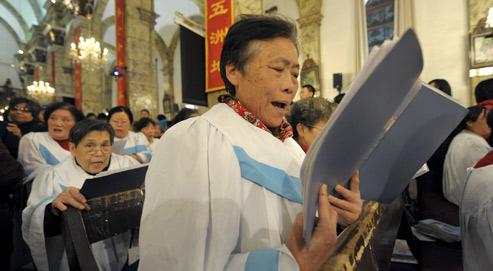 Des chrétiens lors d'une messe en Chine