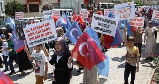 Des manifestants turques devant l'ambassade de Thaïlande à Ankara