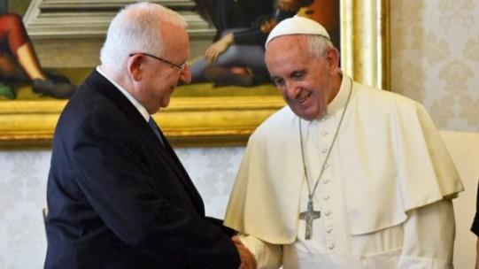 Photo de la rencontre entre le président israëlien Reuven Rivlin et le Pape François